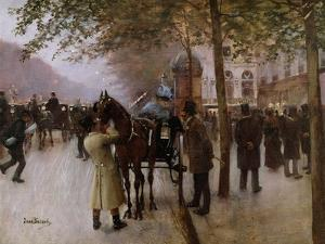 The Boulevards, Evening in Front of the Cafe Napolitain, Late 19th Century by Jean Béraud