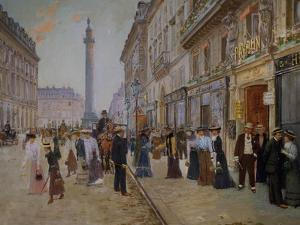 The Exit of the Tailors from the Maison Paquin at Rue De La Paix by Jean Béraud