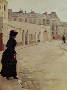 Waiting, Rue de Chateaubriand, Paris by Jean Béraud