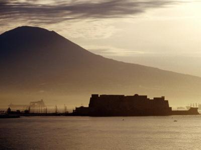 Castel Dell'Ovo and Vesuvius in Background, Naples, Italy