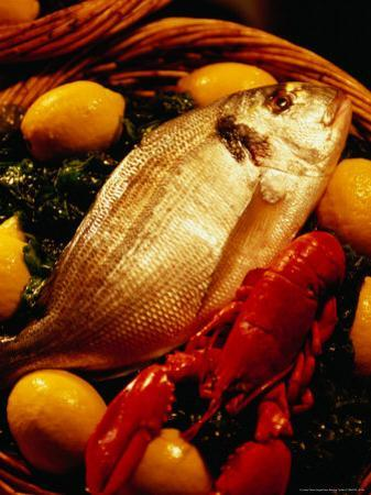 Fish and Lobster on Bed of Green Vegetables and Lemons, Marseille, France