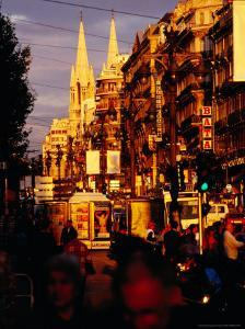 Late Afternoon in Canebiere, Main Thoroughfare, Marseille, France by Jean-Bernard Carillet
