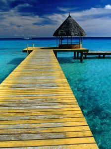 Pontoon and Hut Over the Lagoon, Rangiroa, Taumotus, The, French Polynesia by Jean-Bernard Carillet