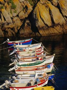 Row of Fishing Boats Moored in a Small Harbour Near Plouhinec, Cape Sizun, Brittany, France by Jean-Bernard Carillet