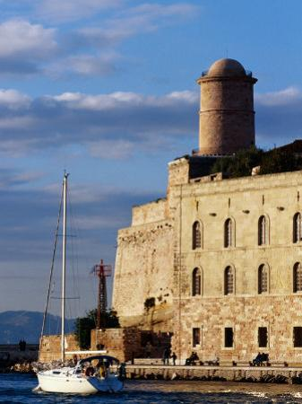 Sail Boat Passing Fort Saint-Jean, Marseille, France