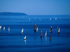 Sailing Boats in Bay, Brest, France by Jean-Bernard Carillet