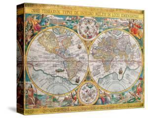 World maps stretched canvas prints artwork for sale limited antique map orbis terrarum 1636 by jean boisseau gumiabroncs Image collections