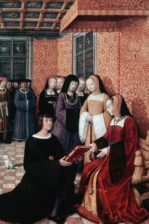 The Poet Jean Marot (1450-1526) Handing over His Work Voyage to Genoa to Anne of Brittany (1477-151