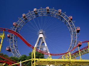 Big Wheel with Roller Coaster, Prater, Vienna, Austria, Europe by Jean Brooks