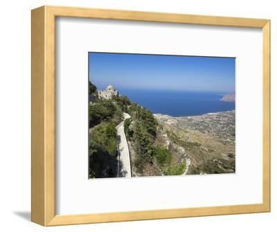San Giovanni Church and View of Coastline from Town Walls, Erice, Sicily, Italy, Mediterranean