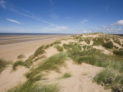 Sand Dunes on Beach, Formby Beach, Lancashire, England, United Kingdom, Europe