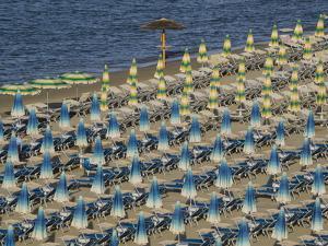 Umbrellas on the Beach, Gatteo a Mare, Region of Emilia Romana, Adriatic Sea, Italy, Europe by Jean Brooks