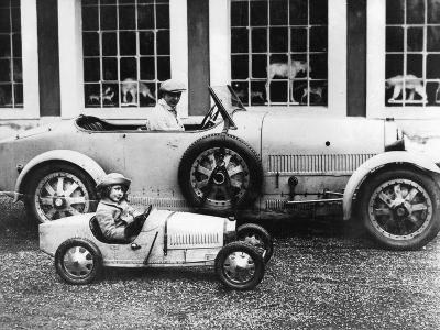 Jean Bugatti and Roland Bugatti Sons of Ettore Bugatti in Cars Made by their Father, C. 1928--Photo