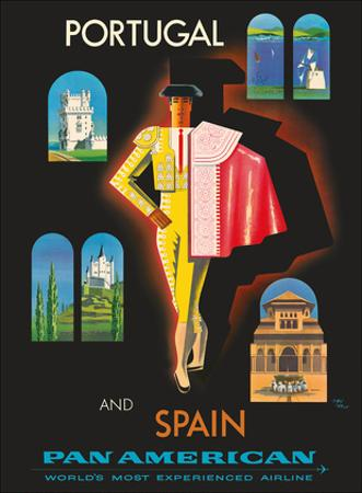 Portugal and Spain by Clipper - Matador - Pan American World Airways by Jean Carlu
