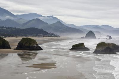 USA Oregon, Cannon Beach. Fog Rises over Coastline at Low Tide