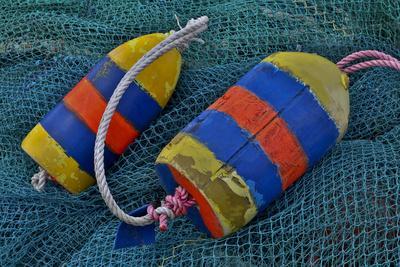 USA, Oregon, Garibaldi. Blue Fishing Nets with Buoys
