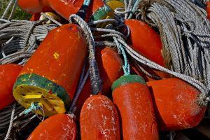 USA, Oregon, Garibaldi. Colorful Crab Pot Buoys by Jean Carter