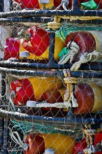 USA, Oregon, Garibaldi. Stacked Crab Pots on Dock by Jean Carter