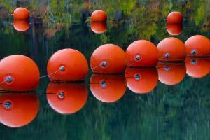 USA, Oregon. Orange Buoys Form Dam on Rogue River by Jean Carter