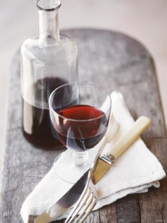 Still Life with Red Wine Glass, Wine Carafe, Napkin and Cutlery