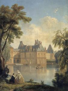 Vue de la cour de la Fontaine.. by Jean Charles Joseph Remond