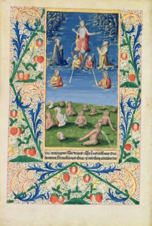 Resurrection of the Saved, from the Book of Hours of Louis D'Orleans, 1469 by Jean Colombe