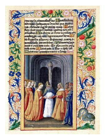 """The Marriage of Michal to David, from the """"Book of Hours of Louis D'Orleans"""", 1469"""