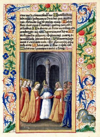 "The Marriage of Michal to David, from the ""Book of Hours of Louis D'Orleans"", 1469 by Jean Colombe"