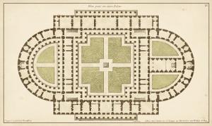 Antique Garden Plan I by Jean Deneufforge