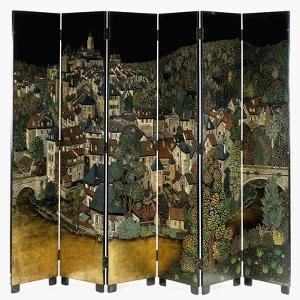 A Jean Dunand Six-Fold Lacquer Screen, Depicting a View of the Village Uzerches by Jean Dunand