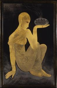 Perfume', a gilt and lacquer panel depicting a maiden scantily clad in an oriental style shawl by Jean Dunand