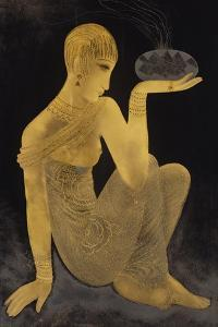 'Perfume'. A maiden scantily clad in an oriental style shawl, holding an incense burner. C. 1925 by Jean Dunand