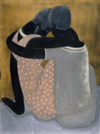 Two Ladies Seated with their Arms C. One Another, their Heads Inclined