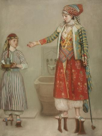 A Lady in Turkish Costume with Her Servant at the Hammam, Mid of the 18th C