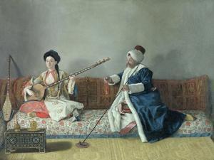 Monsieur Levett and Mademoiselle Helene Glavany in Turkish Costumes by Jean-Etienne Liotard