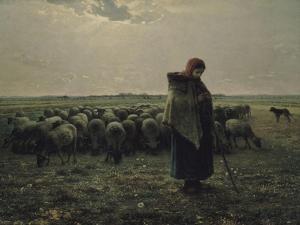 Berg� avec son troupeau, dit aussi Berg� gardant ses moutons ou La grande berg� by Jean-Fran?ois Millet