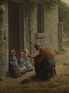 La Becqu� ou Paysanne donnant �anger �es enfants by Jean-Fran?ois Millet