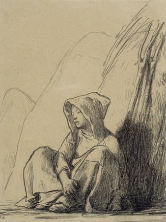 Petite paysanne assise au pied d'une meule by Jean-Fran?ois Millet