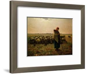 Shepherdess with Her Flock, 1863 by Jean-Fran?ois Millet