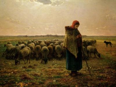 Shepherdess with Her Flock, 1863 by Jean-Fran?ois Millet