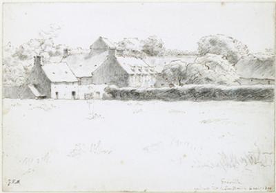 View of Farm Buildings across a Field, 1871 by Jean-Fran?ois Millet