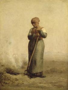 Br�leuse d'herbes by Jean-François Millet