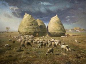 Haystacks; Autumn 1874 by Jean-François Millet
