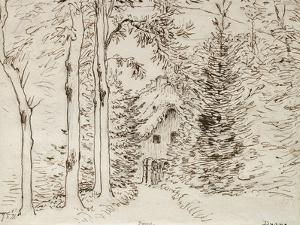 Path Through Woods to a Thatched House, 1866 (Graphite, Pen, and Brown Ink on Paper) by Jean-Francois Millet