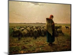 Shepherdess with Her Flock, 1863 by Jean-François Millet