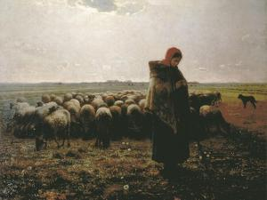 Shepherdess with Her Flock by Jean-François Millet
