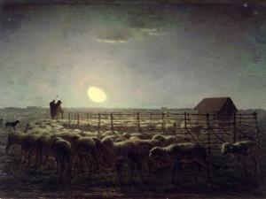 The Sheepfold, Moonlight, 1856-60 by Jean-François Millet