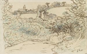 Village avec une �ise devant un terrain de brousailles et d'arbres by Jean-François Millet
