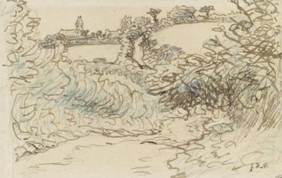 Village avec une ?ise devant un terrain de brousailles et d'arbres by Jean-François Millet