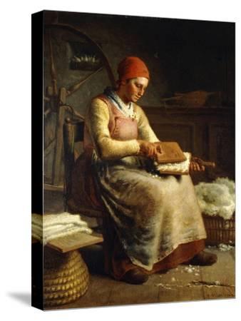 Woman Carding Wool